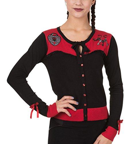 Banned Black Banned Cardigan Red Cardigan Donna qzZgnvZpT