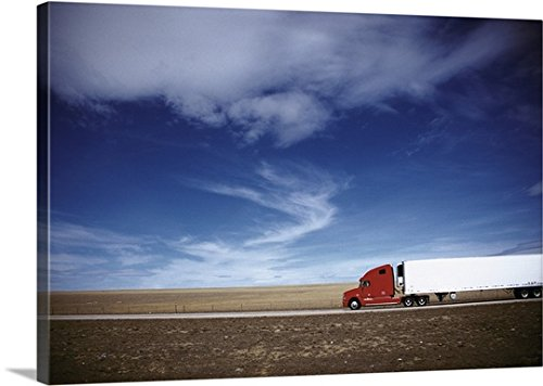 mium Thick-Wrap Canvas Wall Art Print entitled Truck on the road, Interstate 80, Albany County, Wyoming 24