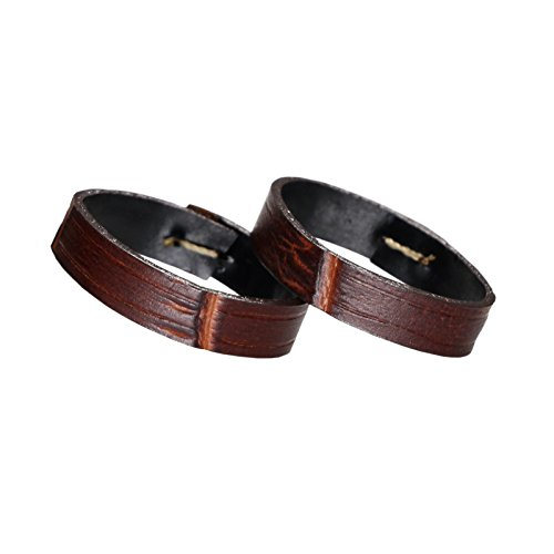 20mm Brown Watch Band Ring Holder Alligator Embossed Italian Calfskin Leather(Two Pieces One Pack)