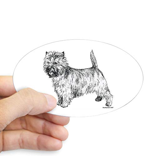 CafePress Cairn Terrier Pen & Ink Oval Sticker Oval Bumper Sticker, Euro Oval Car Decal