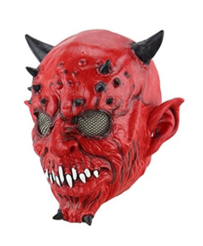 Demon Costumes For Halloween (Scary Halloween Yaksha Satan Demon Mask for Party Cosplay Costume Props)