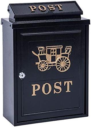 郵便受け メールボックスレトロなヴィンテージヨーロッパアウトドアウォールはメールボックス外郵便ボックスポストボックスセキュアレターボックスをマウント 壁掛け (Color : Black, Size : 28x12.2x35.5cm)
