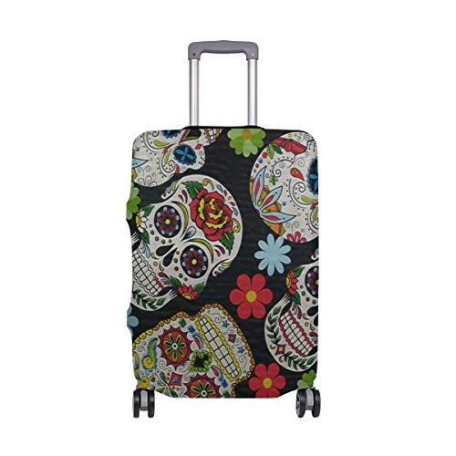 Travel Luggage Cover Sugar Skull & Flowers Protective Elastic Suitcase Protector Bag 26-28 IN
