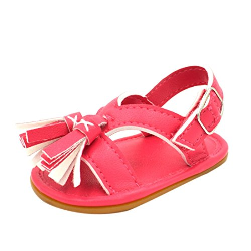 BZLine® Baby Neugeborenen Quaste Walking Schuhe Sandalen Soft Shoes Non-Slip shoes Rot