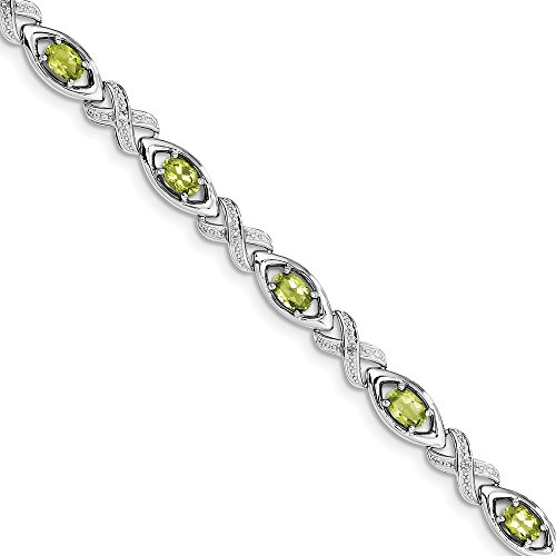 Sterling Silver Diamond & Peridot Bracelet by CoutureJewelers