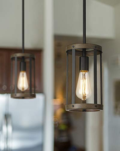 Eapudun Farmhouse Pendant Light, 1-Light Industrial Metal Wire Cage Hanging Lantern Ceiling Light Fixture for Kitchen…