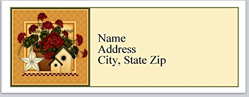 (120 Personalized Return Address Labels Primitive Country Birdhouse Flowers (bx 372))