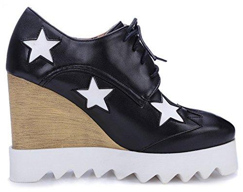 Summerwhisper Vrouwen Trendy Sterren Vierkante Teen Lace-up Pumps Schoenen Wedge Hoge Hak Platform Sneakers Zwart