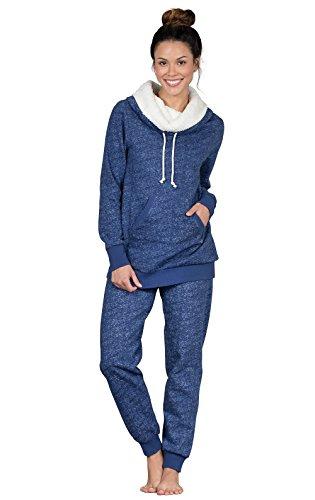 PajamaGram Cozy Womens Pajama Sets - Winter Pajamas for Women, Navy, L, 12-14 (Set Essentials Comfort)