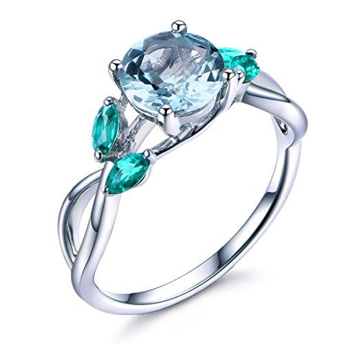 (7mm Round Cut Natural Blue Aquamarine 14k White Gold Marquise Emerald Leaf Engagement Ring Wedding Band)