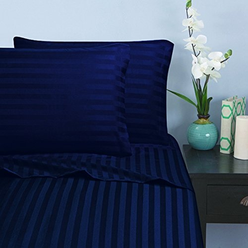 1500 Thread Count - Damask STRIPES Egyptian Quality Luxurious Silky Soft 4pc Sheet Set King, Navy Blue