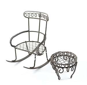 Sedia a dondolo mini giardino tavola rotonda 2 pkg sedia for Sedia a dondolo amazon