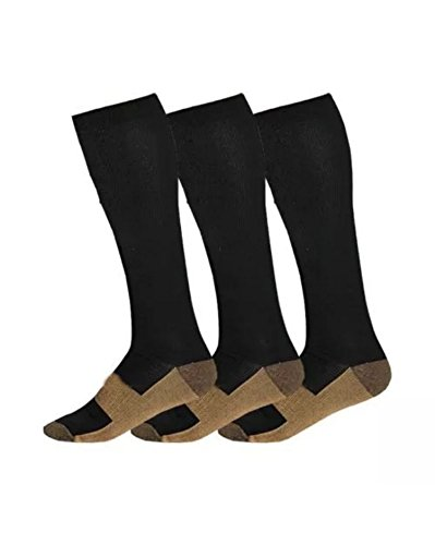 Copper Compression Socks 20-30mmHg Graduated Men Women (3 Pairs) BLK White Nude (Black, - Com Ireland Debenhams