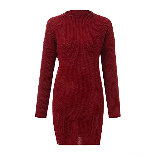 (iLUGU Vintage Mini Dress for Women Long Sleeve Round Collar Solid Color Knitted Loose Sweater Pullover)