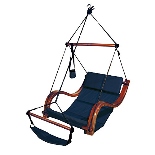- South Mission Hammock Hanging Chair Porch/Patio Swing with Wooden Armrest (Navy)
