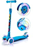 GEI Outon Kick Scooter For Kids 3 Wheel Lean To Steer Adjustable Height PU 4 LED Flasing Wheels Blue
