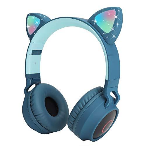 Yurlgst Kids Wireless Headphones,Cat Ear Bluetooth Headphones with Led Light, SD Card Slot, FM,3.5 mm Audio Jack Wired Kids On Ear Headphones for Boys Girls Adults(Blue)