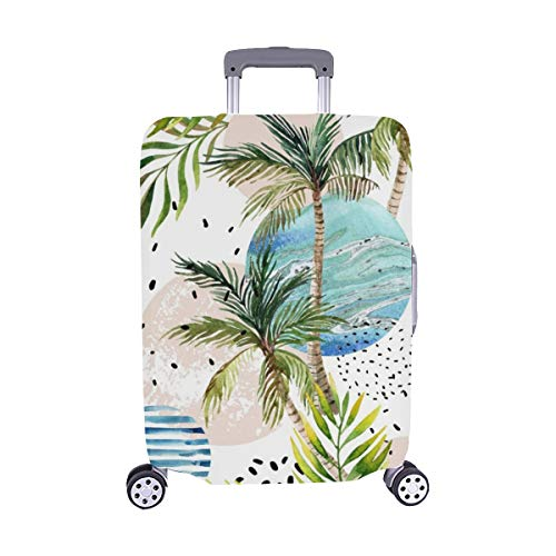 Abstract Summer Geometric Geometric Shapes Spandex Trolley Case Travel Luggage Protector Suitcase Cover 28.5 X 20.5 Inch (Lycra Top Tropic)