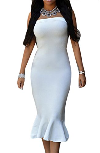 Wrap Bodycon Sleeveless Sexy Jaycargogo Dress Women's Strapless Party White wqZPpx7Iz