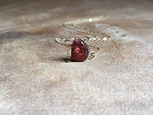 Dainty Raw Garnet Gemstone Necklace Gold - 16 Inch Length January Birthstone Gift For Women