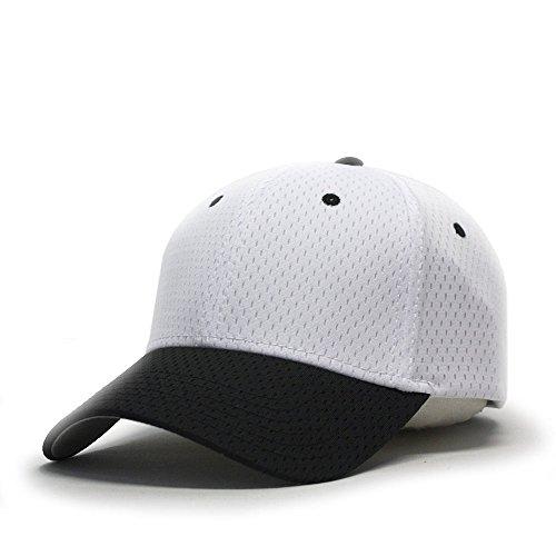 Vintage Year Plain Pro Cool Mesh Low Profile Baseball Cap With Adjustable Velcro (Black/White)