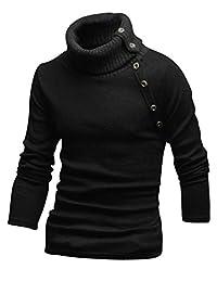 uxcell® Men Autumn Turtle Neck Long Sleeve Buttons Decor Knit Shirt