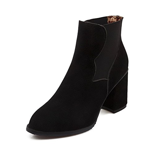 Closed Flock Heels Solid on High Pull Round Black Boots Women's Toe WeenFashion xXqUwRgU