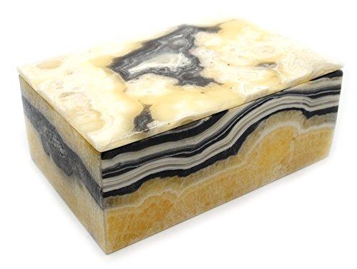 Warm Zebra Onyx Aragonite Prism Jewelry Box, 5