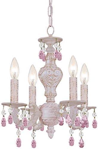 Paris Market 4 Light Rose Crystal White Mini Chandelier