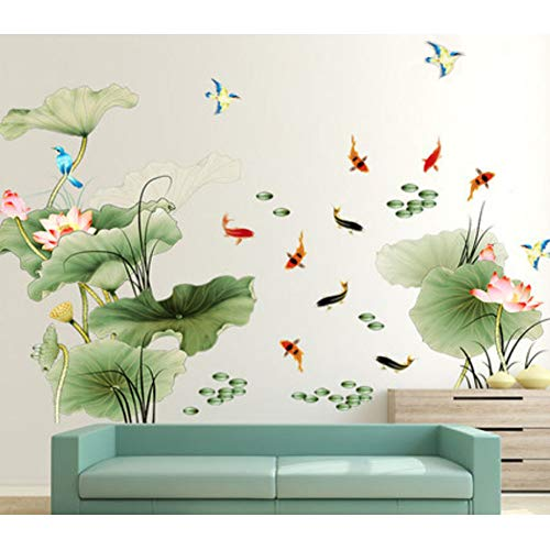 - HomDSim Lotus Flower Bird Fish Wall Decor Decal Sticker,Living Room PVC Mural Decorative Craft Wall Art Decoration Painting Large Removable Chinese Style