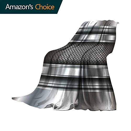 vanfan-home Grey Fashion Throw Blanket,Realistic Vivid Looking Steel Plates Image Heavy Industry Technology Themed Print Throw Blanket for Living Room (60