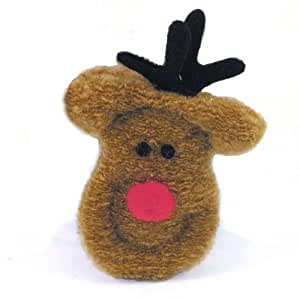 West Paw Design Cheery Deer Catnip-Filled Cat Toy with Bell, Holiday, Assorted