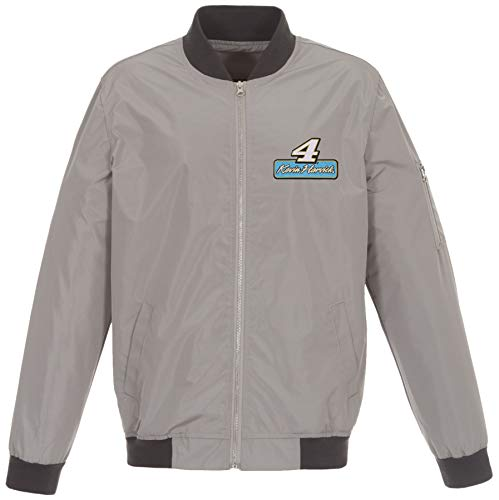 Mens Nascar Kevin Harvick Lightweight Zip-Up Nylon Jacket with Knit Trim (2X, Gray & Charcoal)