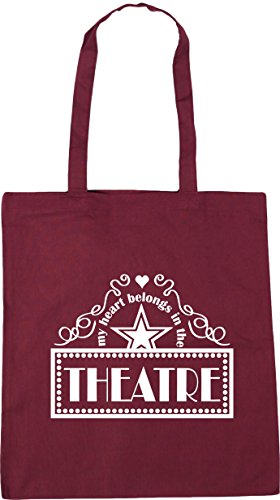 Burgundy x38cm 10 In Beach Gym 42cm litres My Belongs HippoWarehouse Tote Shopping Bag the Theatre Heart HRZ4qwgx7