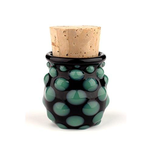 Blown Glass Small Polka Dot Jar - Green/Black (Hand Glass Jar Blown)