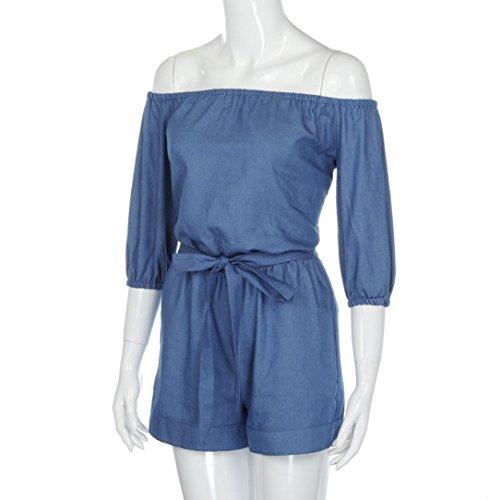 Ouneed® Femme Denim Combishort Design Off Shoulder Playsuit