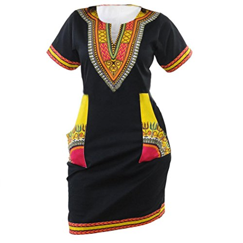 Women Girls Fashion Dress GoodLock Lady Female Sexy Ethnic Style Print V-collar Casual Short Sleeve Dress (Black, Size:2XL)