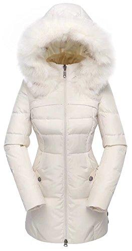 valuker Women's Down Coat with Fur Hood 90D Parka Puffer Jacket 57-Creme-L