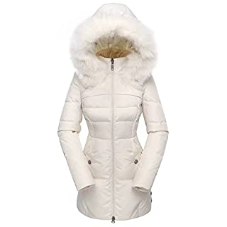 Beinia Valuker Women's Down Coat with Fur Hood 90D Parka Puffer Jacket 57-Creme-L