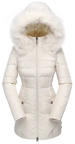 valuker Women's Down Coat with Fur Hood 90D Parka Puffer Jacket 57-Creme-L