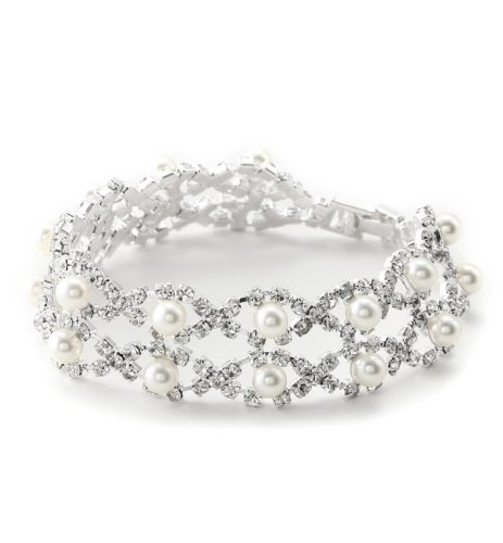 Topwholesalejewel Two Rows White Pearl & Silver Rhinestone Bracelet