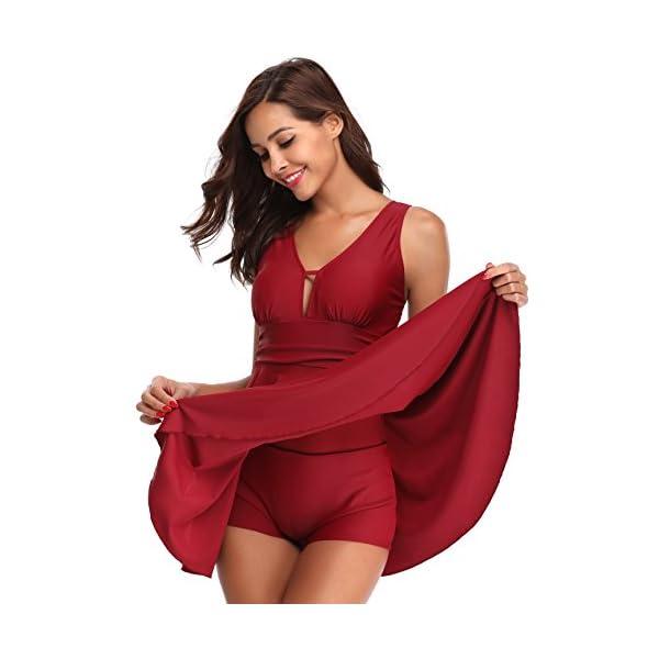 SHEKINI Donna Costume da Bagno con Gonna One Piece Dimagrante Costume Intero con Coppe Soffici Vintage Skirted Swimwear…