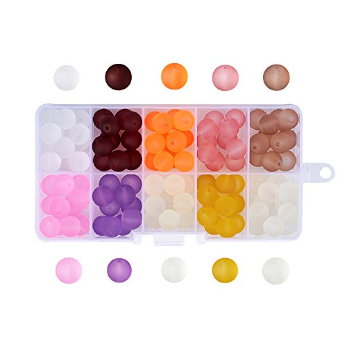 Pandahall 10 Colors Transparent Frosted Glass Beads 10mm Round Loose Spacer Beads About 120pcs/box