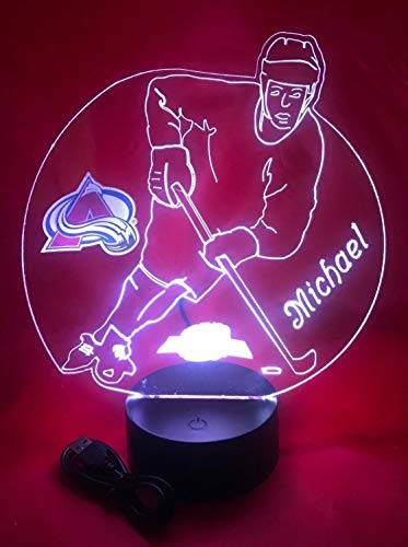 Colorado Beautiful Handmade Acrylic Personalized Avalanche Hockey Player Light Up Light Lamp LED, Our Newest Feature - It's Wow, Comes with Remote,16 Color Options, Dimmer, Free Engraved, Great Gift ()