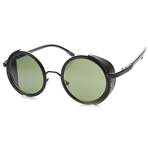 5159553958 zeroUV - Studio Cover Faux Leather Side Shield Steampunk Round Sunglasses ( Black) - Buy Online in Kuwait.