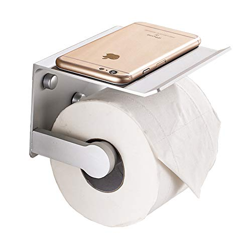Roll Holder, Wall Mounted Lavatory Tissue Holder with Phone Storage Shelf (White, 5.2×4.5×3.2 Inch) ()