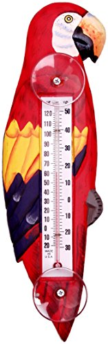Songbird Essentials Red Parrot Large Window Thermometer by Songbird Essentials