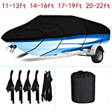 labworkauto Waterproof Heavy Duty 210D Boat Cover Trailerable Boat Cover Fit for V-Hull,Tri-Hull, Runabout Boat Cover…