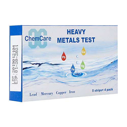 ChemCare Heavy Metals Water Test Kit - High Accuracy Water Testing Strips for Lead, Iron,Copper, Mercury,Perfect for Drinking Water,Well Water,Pool Water and Tap Water | Ultra-Low Range, 20 ()