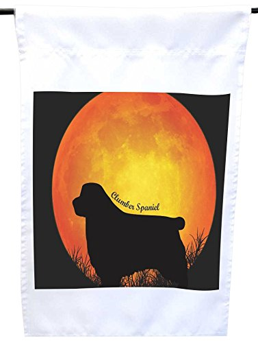 Clumber Spaniel Silhouette Dogs - Rikki Knight Clumber Spaniel Dog Silhouette by Moon House or Garden Flag, 12 x 18-Inch Flag Size with 11 x 11-Inch Image